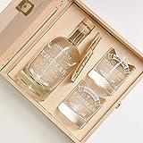 polar-effekt 6-tlg Geschenk-Set in Holzkiste - 2 Gläser, 2 Untersetzer und Whisky-Karaffe in Geschenk-Box mit Gravur - Motiv Original-Exklusive
