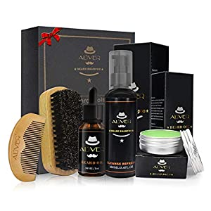 Bartpflege Set Für Männer 5-Teilig – Bart-Shampoo (100 ml) + Bio-Bartöl (30 ml) + Bartbalsam (30 g) + Wildschweinborsten-Bartbürste + Premium-Bartkamm aus Holz