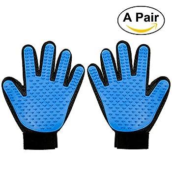 Foonii 2pcs Gant de Massage pour Chien Toilettage Glove, Doux Gant Tactile Pet Massage Brosse Cheveux Toilettage éliminateur Bain Pour Chien Chat Anima(Bleu )