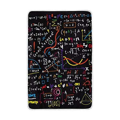 ALAZA Math Linear Mathematik Bunte Doodle Polyester Mikrofaser Decke 60