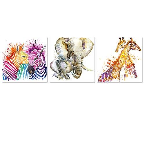 Visual Art Decor Abstrakte Tiere Leinwandbild Wall Art Zebra Giraffe Elefant Aufkleber Aquarellzeichnung Prints Decor für Schlafzimmer Wohnzimmer Klassenzimmer Geschenk für Kinder