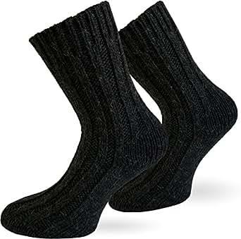 2 Paar Sehr warme Alpaka Wollsocken für Damen und Herren / wie Handgestrickt ! waschmaschienenfest ! Anthrazit Größe 35-38