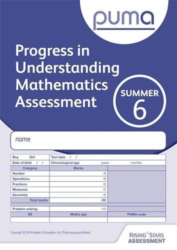 free puma test 6 summer pk10 progress in understanding mathematics