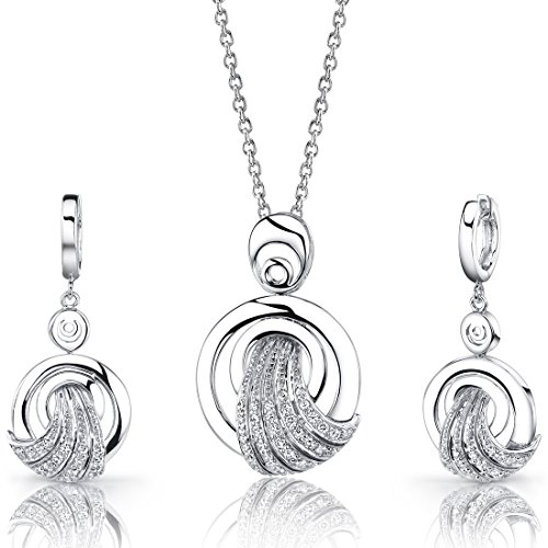 Revoni Amazing Grace: Sterling Silver Circle Pendant Necklace Earrings Set with CZ Diamonds