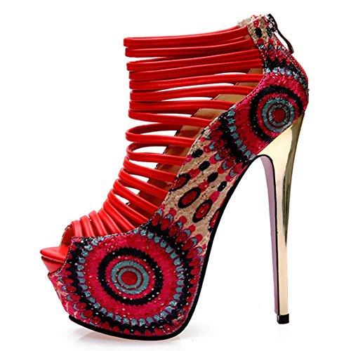 L@YC® Frauen Nachtclub High Heels Damen 16cm Fisch Kopf Sandalen Frühling und Sommer Fine mit wasserdicht Tisch Kleid Pumpe Red