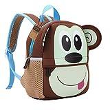 teamen - Zaino per bambini, per la scuola, con animali, età: 2-6 anni, scimmia