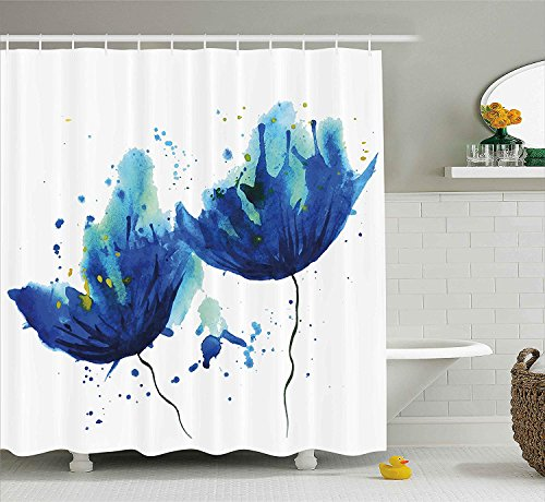 GONIESA Blue Shower Curtain, Watercolor Style Effect Floral Decor Abstract Art Cornflower Illustration, Fabric Bathroom Decor Set with Hooks, 60 * 72inch, Light Blue and Blue Cornflower Blue Liner