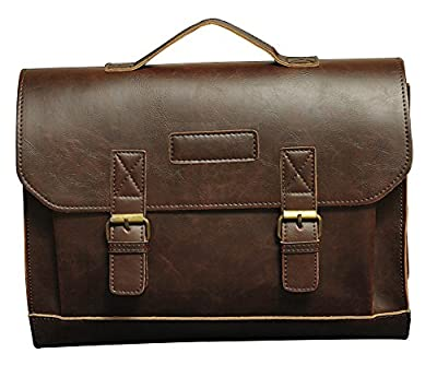 Wealsex Sac a main Bandoulière Porte-documents Cuir Vintage Solide Sac Messager Business Homme Taille 36 * 10 * 23 cm
