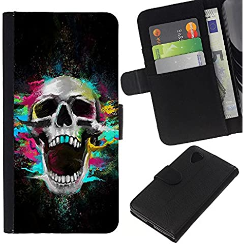 Leather Etui en cuir || LG Nexus 5 D820 D821 || Los dientes del cráneo de neón Scream Esqueleto colorido