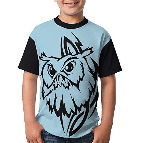 JEWold Custom Children's Teenagers Round Neck T-Shirts Tribal Owl Black Short Sleeve T Shirts Youth Tees Kindert-Shirt -