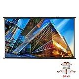 Écran de Projecteur Portable PVC 4K HD 221x125cm 100 Pouces Diagonale 16:9 Gain 1.1,Excelvan Écran de Projection à 160°Angle de Vision Mural Suspendu Installation Rapide pour Film Maison et Bureau
