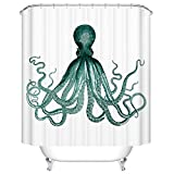 Goodbath Octopus Kraken Sea Monster Shower Curtains, Waterproof and Mildew Free Fabric Bathroom Curtain, 72 x 72 Inch, Teal White