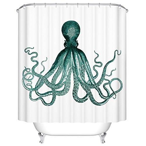 Nautische Anker Duschvorhänge von Goodbath, Chevron gestreiften Design Wasserdicht und Anti-Mildew-Polyester-Stoff Bad Vorhang mit Haken. Octopus (Chevron-stoff Blue)