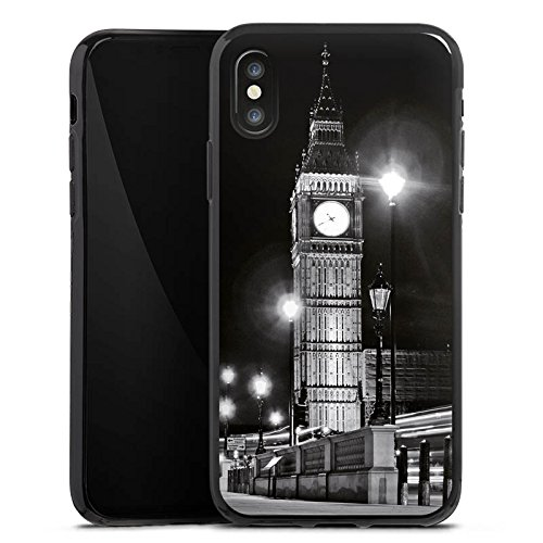 Apple iPhone X Silikon Hülle Case Schutzhülle Big Ben London England Silikon Case schwarz