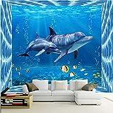 Guyuell ModerneDelphin Unterwasserwelt 3D Fototapete Kinderzimmer Wohnzimmer Tv Sofa Hintergrund Wandbild 3D Cartoon Tapeten-120Cmx100Cm