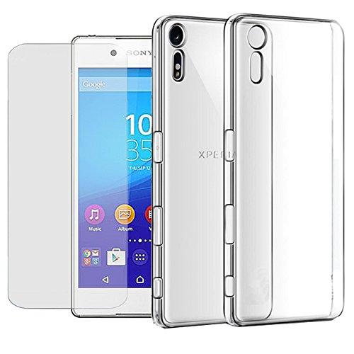Eximmobile Silikon Case + Panzerfolie für Sony Xperia M5 Handyhülle mit 9H Echt Glasfolie Schutzhülle mit Schutzfolie Handytasche Silikonhülle Tasche Hülle Bildschirmschutzfolie Bildschirmschutz