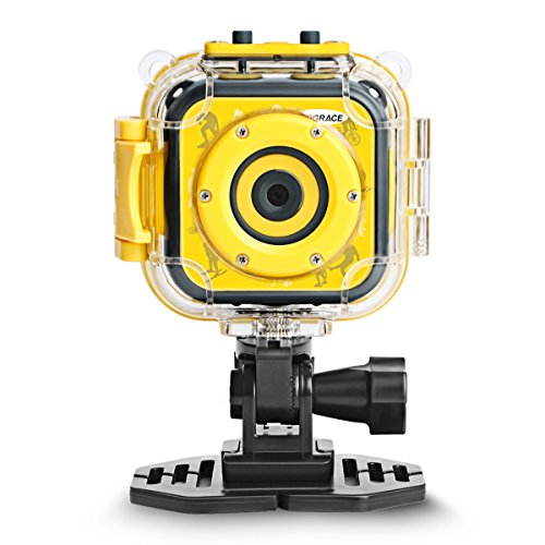 Drograce kids 1080p hd digitale impermeabile sport d' azione videocamera subacquea per ragazzi birthday holiday gift bambini first camera (giallo), small