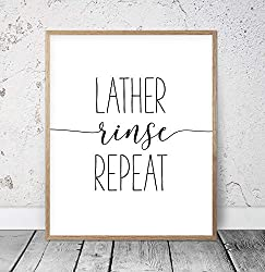 Scott397House Wood Framed Sign Bathroom Prints Lather Rinse Repeat Sign SPA Prints SPA Printable Decor Black and White Bathroom Print for SPA Wall Bathroom Quote Art 8x12 Inch