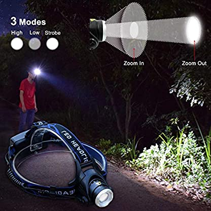 WASAGA Head Torch, 2000 Lumen 5000 Lumen Zoomable Rechargeable LED Headlamp Headlight Flashlight, Waterproof Adjustable LED Headlamp, Perfect for Running, Walking the dog, Camping, Reading 3