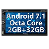 Pumpkin Android 7.1 Octa Core 2GB 32GB Car Stereo Bluetooth with CD DVD Player Double Din Car Radio Sat Nav DAB Touch Screen 2 Din Head Unit Support Mirrorlink AV Out SWC WIFI Subwoofer USB Cam-In OBD (02308)