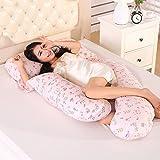 XINFUKL U-Typ Schwangere Frau Seite Schlafkissen Multi-Funktion Seitliche Liege Taille Schutz Bauch Heben Stillkissen Baumwolle Waschbar Kissen,C-170 * 80 * 25cm