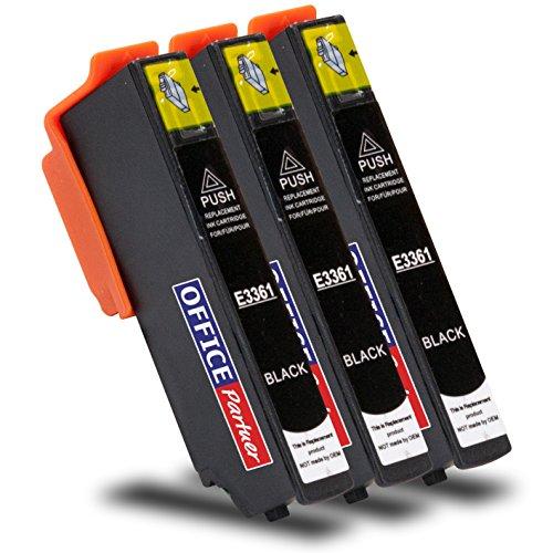 Preisvergleich Produktbild 3x foto-schwarz kompatible Druckerpatrone für Epson T3361 XL mit Chip - passend für Epson Expression Premium XP-530, XP-540, XP-630 Series, XP-635, XP-640, XP-645, XP-830, XP-900