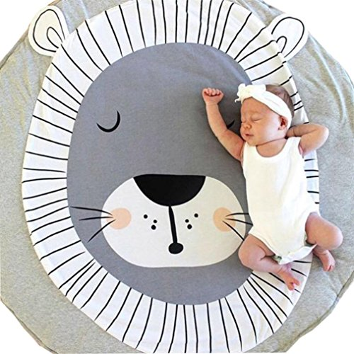 Cartoon Tapis Rampant de enfants, Solike Tapis De Jeu Tapis Rampant D'animal D'enfant Photoshoot Décoration (Lion gris)