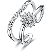 Yeahjoy donna water-shaped misura regolabile aperto anelli intarsiato Shiny Crystal Flower Rings