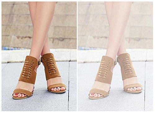 GLTER Frauen Peep Toe Knöchelriemen Pumps Fine High Heel Charming Slingback römischen Sandalen können angepasst werden 32-43 Size Code Schuhe Yellow
