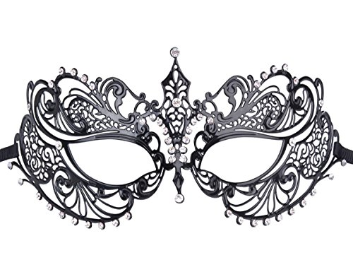 Coxeer Maskerade Halloween Maske Metall Venezianische Karneval Partei Masken (Metall Black)