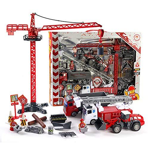 ägheit Spielzeugauto, Kranturmleiter Auto Modell Feuer LKW Spielzeug Kinder Spielzeugauto DIY Kombination Spielzeug Junge Mädchen Geschenk ()