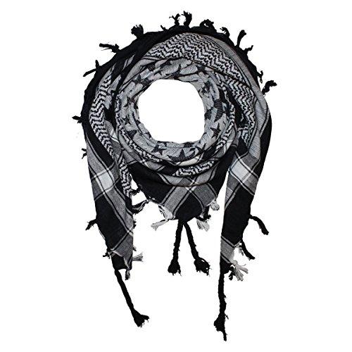 Superfreak® Palituch mit Sterne-Muster groß & klein°PLO Schal°100x100 cm°Pali Palästinenser Arafat Tuch°100% Baumwolle, Farbe: schwarz/weiss (100% Baumwolle Muster)