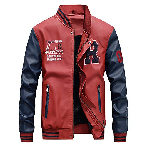 Bazhahei uomo top,uomo/signori/ragazzi pu pelle college baseball jacket felpa motociclista giacca giubbotto manica lunga jacket top