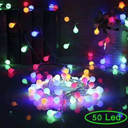 Lichterkette Batterie 50 Led RGB Bunt 5,5M Kugel Lichterkette Innen Außen mit Fernbedienung 8 Modi Wasserdicht Deko Lichterkette für Feier Geburtstag Hochzeit Party