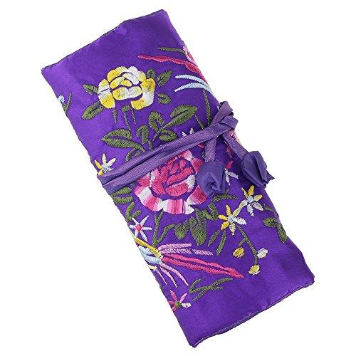 n Schmuck Rolle Beutel, Seide Stickerei Brokat Jewelry Organizer Fall mit Krawatte Schließen Dark Purple Flower ()