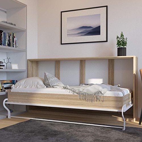 Schrankbett 90cm Horizontal Eiche Sonoma/ mit Weißer Front SMARTBett Ohne Matratze, ideal als Gästebett – Wandbett, Schrank mit integriertem Klappbett, SMARTBett, Sideboard - 2