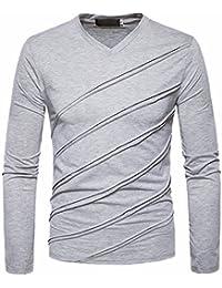 QIYUN.Z Los Hombres De Moda Cuello En V Manga Larga Rayas Jersey Blusas Camisetas Delgadas G6vaLP13jR
