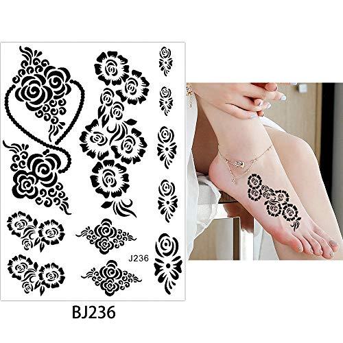adgkitb 3pcs Rose Flower Lace temporäre wasserdichte Tattoo Sticker Schmetterling Schmuck Kette 14.8x21cm