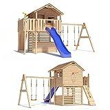 ISIDOR Holzbau MAXIMO Spielturm Baumhaus Stelzenhaus mit Doppelschaukel, Kletterrampe, Basketballkorb und Rutsche auf 1,50m Podesthöhe