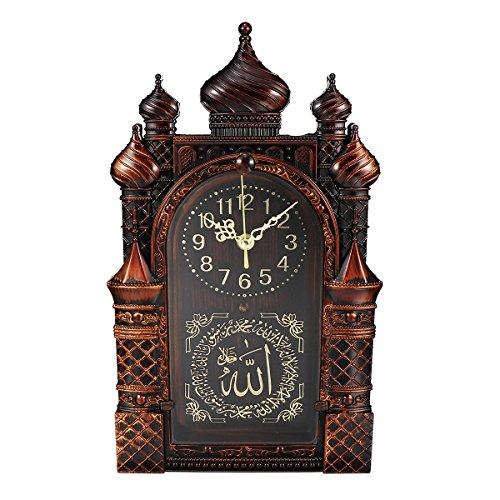 Jeteven 3D Kunst Wanduhr ohne tickgeräusche Islam Wanduhren Kunstuhr groß 21x37x4.6cm 5 Farbauswahl kombinierbar Moschee-Design Braun 1