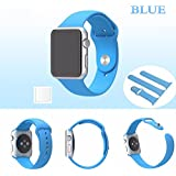 Brain Freezer Replacement Soft Silicone Watch Strap Apple IWatch Series 1, Series 2 , Series 3 38MM Light Blue Watch Not Including Plus Screen Guard