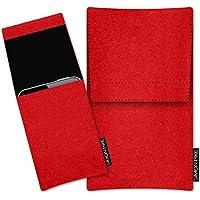 SIMON PIKE Nokia 5 Filztasche Case Hülle 'Sidney' in rot 1, passgenau maßgefertigte Filz Schutzhülle aus echtem 100% Natur Wollfilz, dünne Tasche im schlanken Slim Fit Design für das 5