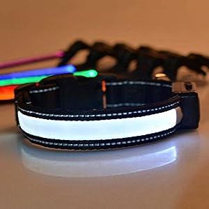 LED Halsband Hund Große, LaiXin Leuchtendes Nylon Hundehalsband Ausziebar Halsbänder Verstellbar Wasserdichte, Solaraufladung oder USB-Laden mit USB-Kabel Hundehalsband LED für Große Hunde - Weiss