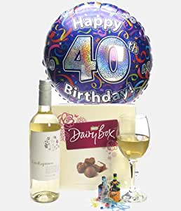 40th Birthday Gift Idea - White Wine And Chocolates Gift With 40th Birthday Balloon