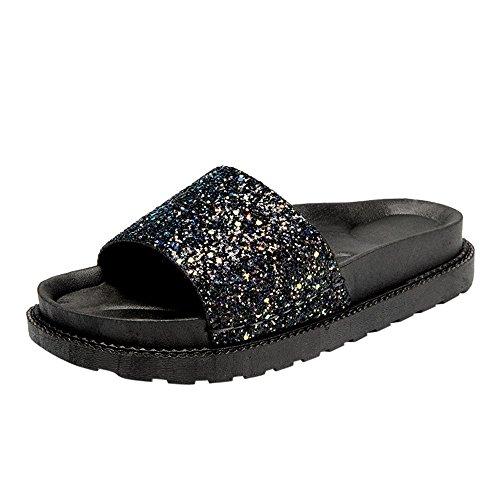 BHYDRY Sandali Estivi Donna Paillettes Round Toe Tacco Piatto Sandali Pantofola Scarpe da Spiaggia(38EU,Nero)