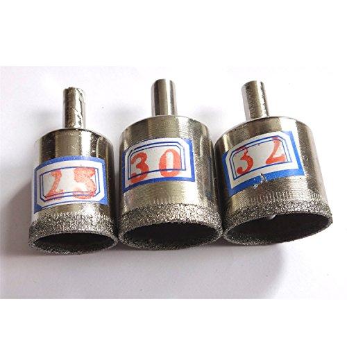 25 mm, 30 mm et 32 mm Revêtement diamant Foret scie cloche Core perceuses Ensemble de 3 pièces