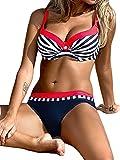 AHOOME Damen Bikini Push Up Gepolstert Streifen rayures Triangel Brasilianische Bademode Bikini-Sets(Rot,S)
