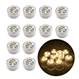 12pcs Flameless LED Tea Light Candles Battery Operated Submersible Decorative Lights for Lighting