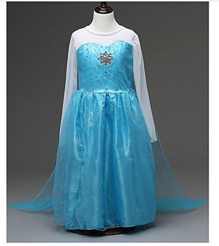 Imagen de jzk® cosplay elsa vestido del traje, longitud 81 cm, para 6 años 120 cm muchacha de los niños de la altura, princesa traje de disfraz traje de fiesta accesorios de halloween alternativa