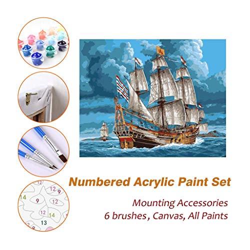 Full House Paint Ölfarbe nach Zahlen Kits Art Sets, gehen Sie zu Wilden Ozean gerahmte Dekoration Acrylmalerei für Kinder Erwachsene Anfänger Künstler Fotografie Pinsel liefert DIY Bild 709 -